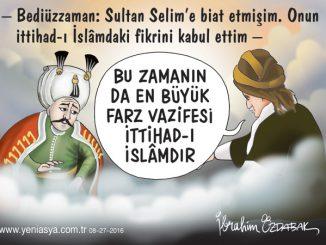 Endişem  Milletimde ihtilâf ü tefrika endîşesi  Kûşe-i kabrimde hattâ bîkarar eyler beni  İttihâdken savlet-i a'dâyı def'e çâremiz,  İttihâd etmezse millet dağ-dâr eyler beni. Yavuz Sultan Selim