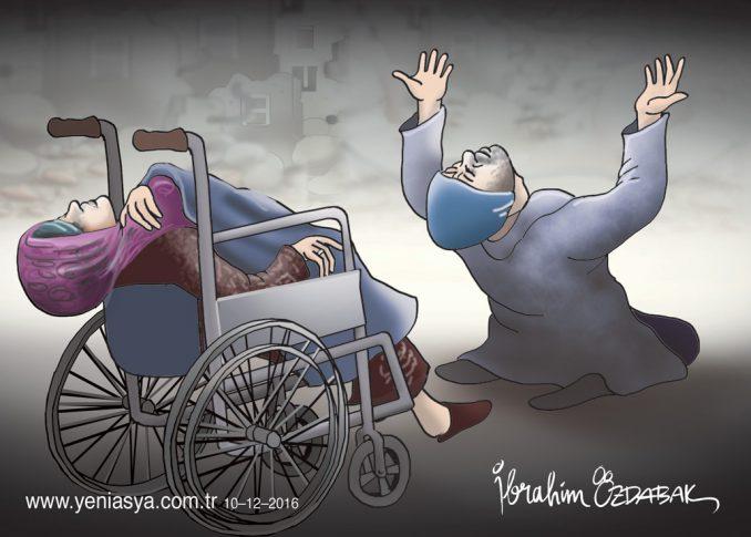 Halep'te, bombardımanda 7 çocuğunu kaybeden anne Sabah, son nefesini tekerlekli sandalye üzerinde baba Ebu Muhammed Halebi'yle sokak sokak doktor ararken verdi.